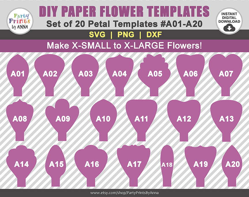 DIY Paper Flower Template - SVG PNG - Flower Petals