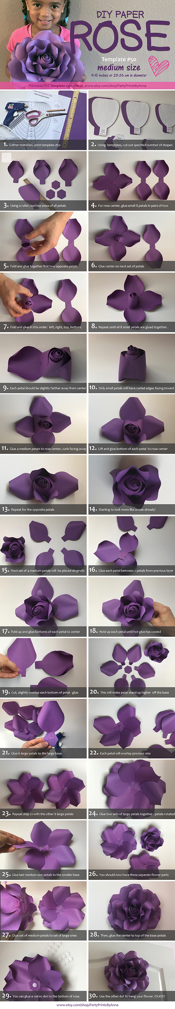 DIY Paper Flower Template - DIY Paper Rose Tutorial Template