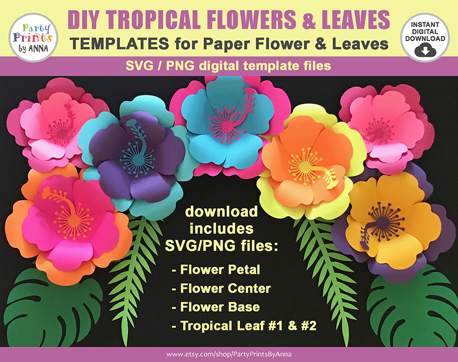 DIY Paper Flower Template - SVG PNG - Hawaii Flower, Hibiscus Flaower, tropical, moana party, tropical leaves svg